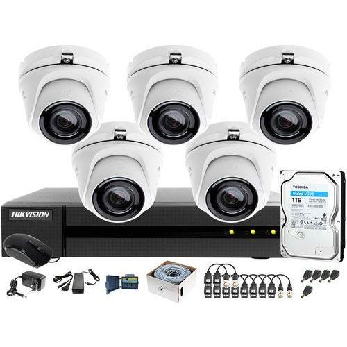 Zestaw monitoringu po utp skrętce 4mpx hwd-6108mh-g2 5 x hwt-t140-m 1tb samodzielny montaż marki Hikvision hiwatch