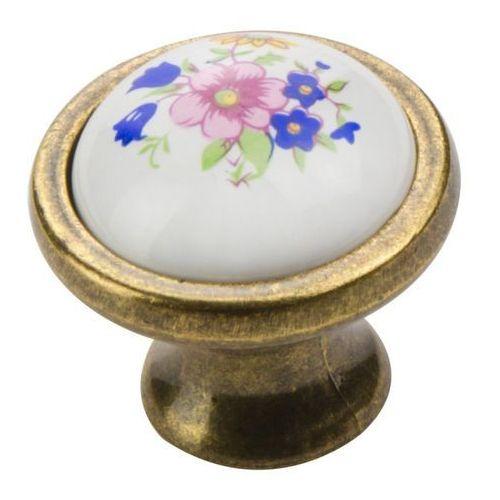 Gałka Schaffner porcelanowa kwiat stare złoto