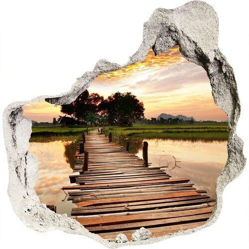 Dziura 3d w ścianie naklejka Drewniany most