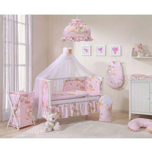 moskitiera baldachim z szarfą z tkaniny drabinki z misiami na różowym tle marki Mamo-tato