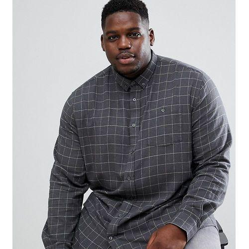 Duke King Size long sleeve button down shirt in windowpane check - Grey, kolor szary