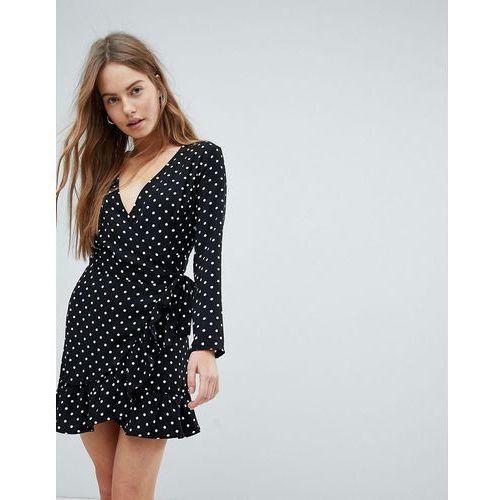 Bershka Spot Print Long Sleeve Wrap Dress - Black, kolor czarny