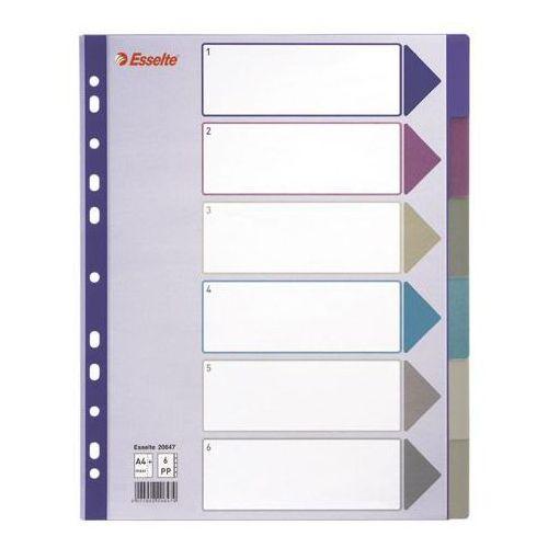 Esselte Przekładki PP A4 Maxi 6szt. mix kolorów (20647) Darmowy odbiór w 21 miastach!, 20647