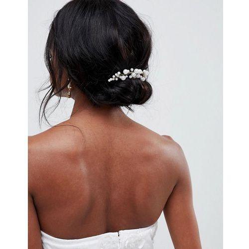 design bridal pearl and crystal vine hair comb - gold marki Asos
