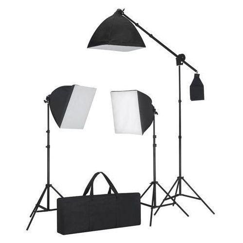 vidaXL Zestaw oświetleniowy: 3 lampy fotograficzne ze statywem i softboxem. (8718475814733)