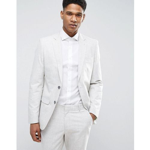 suit jacket with crosshatch detail in off white - grey marki New look