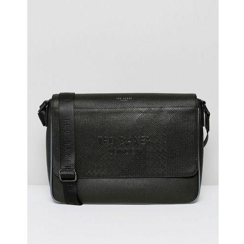 embossed messenger bag in black - black marki Ted baker