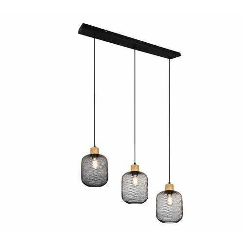 Trio rl calimero r30563032 lampa wisząca zwis 3x40w e27 czarna/drewniana