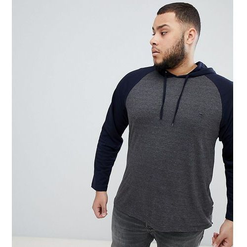 French connection plus long sleeve raglan top with hood - grey