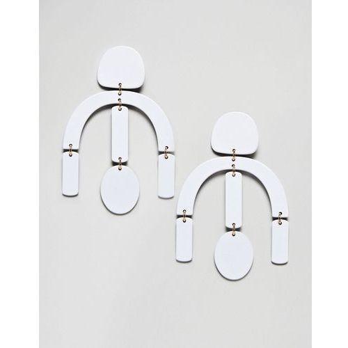 ASOS DESIGN statement earrings in geo shape design in white - White
