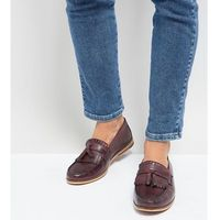Silver street wide fit tassel loafer in burgundy leather - red