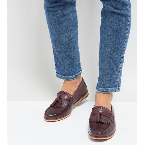 wide fit tassel loafer in burgundy leather - red, Silver street