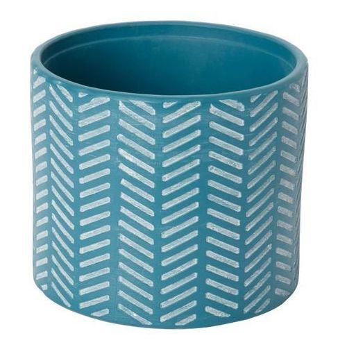 Doniczka ceramiczna GoodHome ozdobna 14 cm niebieska (3663602440932)