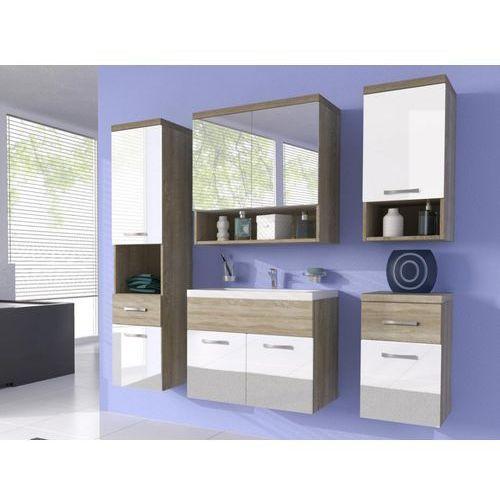 Shower design Komplet luisa - meble łazienkowe - lakierowany na biało i drewno