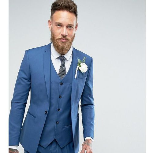 Noak Super Skinny Wedding Suit Jacket with Square Hem in Blue - Blue, kolor niebieski