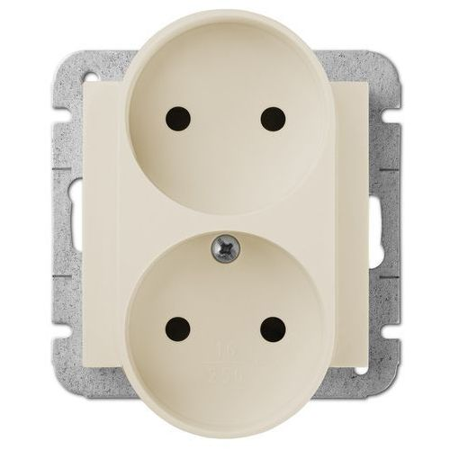Elektro Plast Sentia Gniazdo 2x2P modułowe Kremowy - 1444-11 (gniazdko elektryczne)