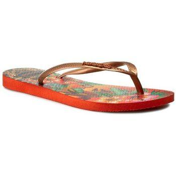 ... Slim Tropical 41221118991 Pumpkin/Dark Copp, klapek damski Havaianas