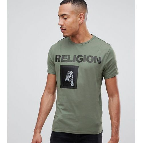 muscle fit t-shirt in green with patch print - green marki Religion