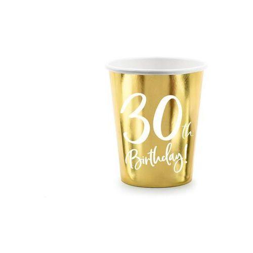 Kubeczki na trzydzieste urodziny 30h birthday! złote - 220 ml - 6 szt. marki Party deco