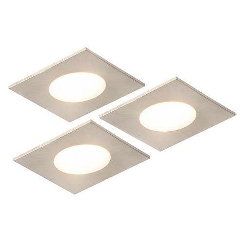 Zestaw 3 łazienkowych opraw do wbudowania kwadratowa ze stali zawiera led 5w wodoodporna - simply marki Qazqa