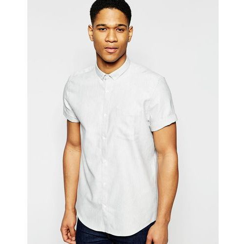 River Island Short-Sleeve Shirt In Grey With Texture In Regular Fit - White