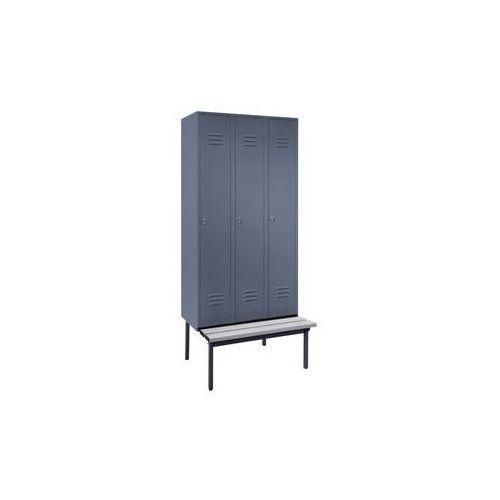 Szafka na ubrania z ławeczką u dołu,pełne drzwi, szer. przedziału 300 mm, 3 przedziały