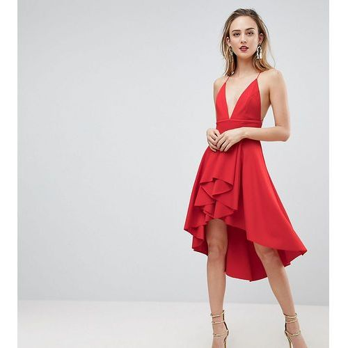 cami deep plunge skater mini dress - red, Asos tall
