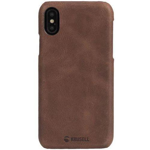 Krusell Sunne Cover - Skórzane etui iPhone X (Cognac), 61106