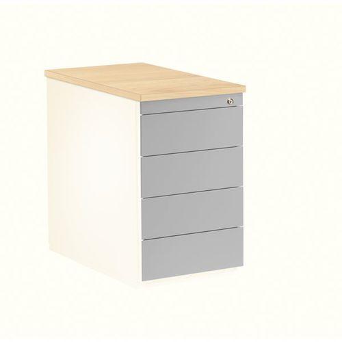 Kontener szufladowy, wys. x głęb. 720x800 mm, 4 szuflady, biały / srebrne alumin