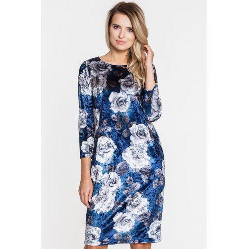 Welurowa sukienka wizytowa w kwiaty - marki Studio mody pdb