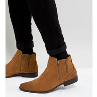 ASOS Wide Fit Chelsea Boots With Zip Detail In Tan Faux Suede - Tan