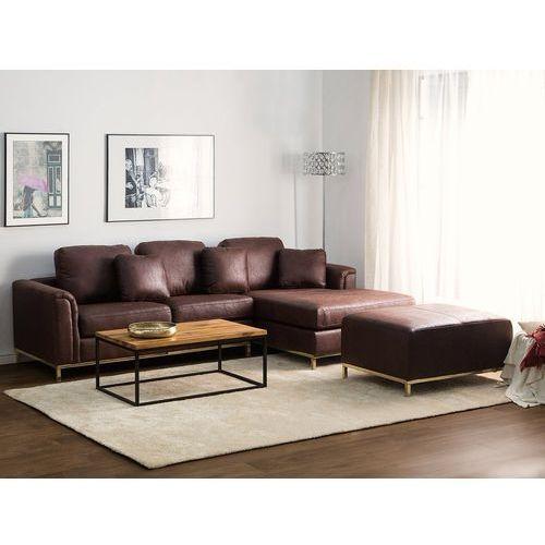 Beliani Sofa narożna tapicerowana brązowa lewa złote nóżki oslo