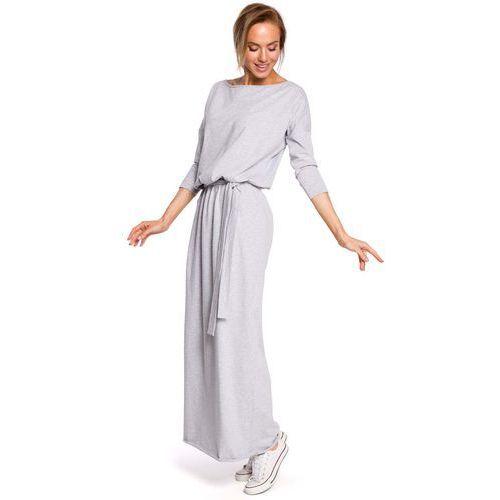 Szara zbluzowana maxi sukienka z paskiem marki Moe