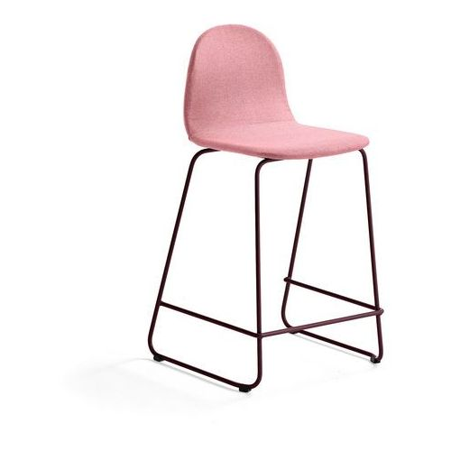 Krzesło barowe GANDER, płozy, siedzisko 630 mm, tkanina, ciemnoczerwony