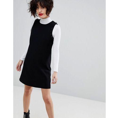 Mango Sleeveless Mini Dress With Stud Detail - Black