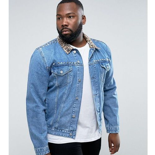 Asos  plus denim jacket with leopard print collar and stud detail in blue wash - black