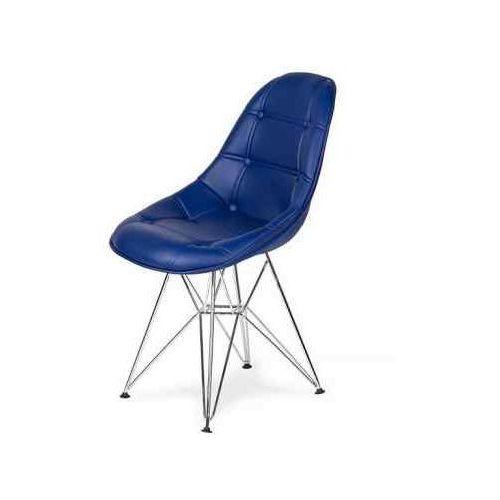 King home Krzesło eko silver marynarski granat t13 - ekoskóra, podstawa metalowa chromowana