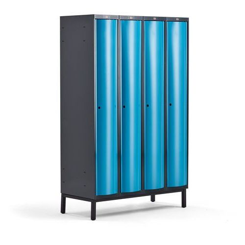 Metalowa szafa ubraniowa CURVE, na nóżkach, 4x1 drzwi, 1940x1200x550 mm, niebieski