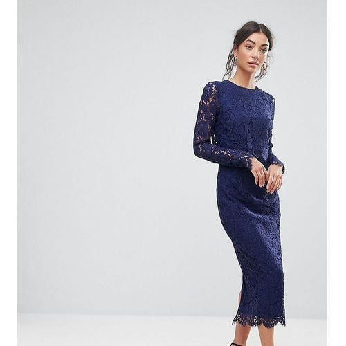 ASOS TALL WEDDING Lace Long Sleeve Midi Pencil Dress - Navy