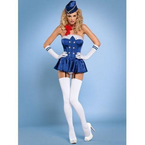 Stewardess gorset kostium 6-częściowy S/M