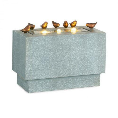 Blumfeldt Waterbirds, fontanna ogrodowa, LED, 60 x 47 x 30 cm, cement, aluminium, szara