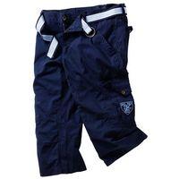 Spodnie 3/4 z paskiem Loose Fit bonprix ciemnoniebieski, kolor niebieski