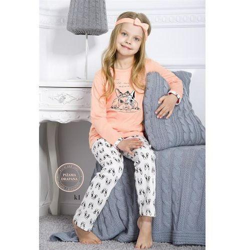 Taro piżama dziewczęca drapana 690 michasia długa 01 morelowy