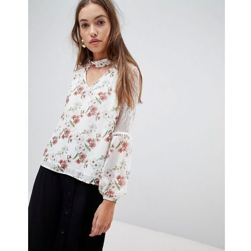 Glamorous floral blouse with lace inserts - Cream