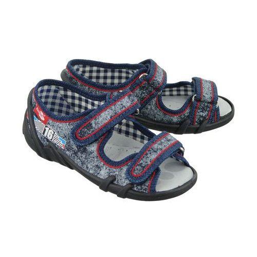 385610b0 REN BUT 33-378 LS-0687 jeans przecierany, kapcie sandałki dziecięce,  rozmiary: 26-30 - Granatowy, kolor niebieski - Nowe oferty