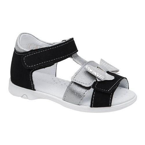 Sandałki dla dziewczynki KORNECKI 6309 Czarne Srebrne Brokat, kolor czarny