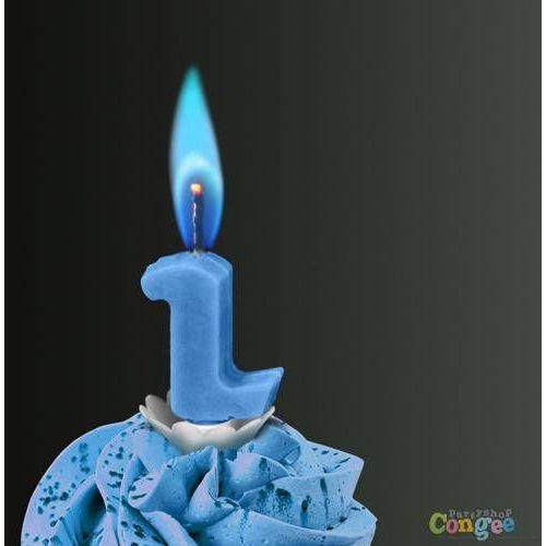 """Sens Świeczka cyferka dwójka """"2"""" z niebieskim płomieniem - 1 szt."""