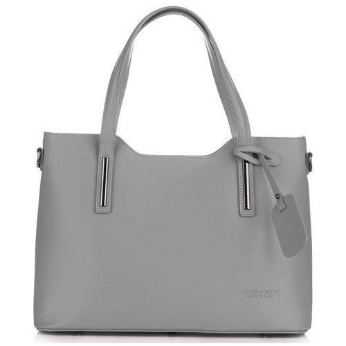 Vittoria gotti Klasyczna torebka skórzana kufer xxl firmy szara (kolory)