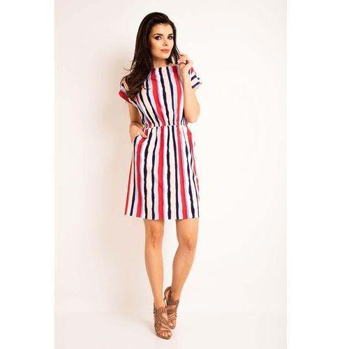 Sukienka wzorzysta letnia z kieszeniami w paski marki Awama