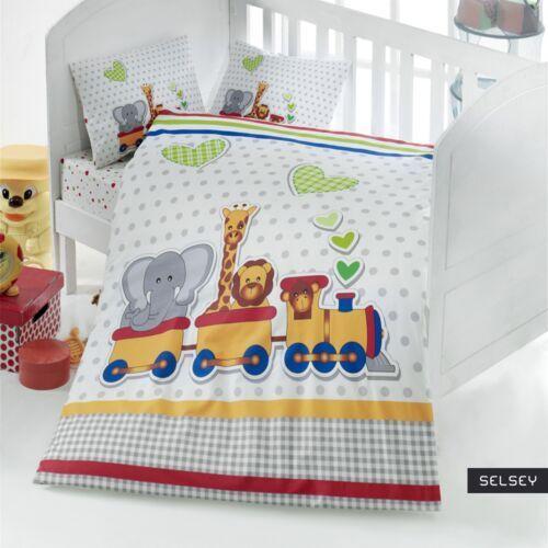 Asir Selsey dziecięca pościel do łóżeczka little train 100x150 cm z dwiema poszewkami na poduszkę 35x45 cm i z prześcieradłem (5903025284750)